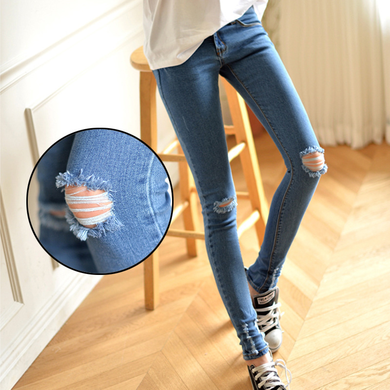 Why silent farewell music with paragraph 2015was thin elastic hole jeans feet pencil female Korean tide(China (Mainland))