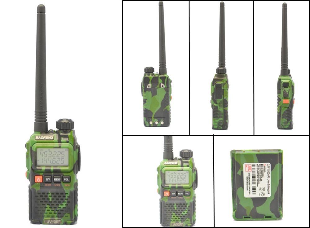 New BaoFeng camouflage UV-3R+ Plus dual band Walkie Talkie VHF/UHF136-174 /400-470Mhz HAM Two Way Radio with earpiece(China (Mainland))