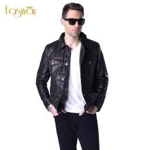 Factory Men's Leather Jacket Genuine Soft Thin Sheepskin Jackets Black Bomber Male Leather Jackets Men Leather Coat Autumn ZH045(China (Mainland))