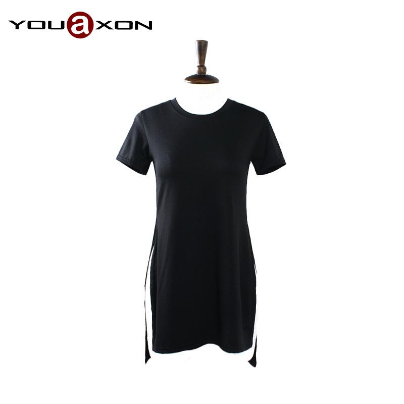 1713 YouAxon Summer Short Sleeve Side Split White Black Casual Cotton Blend Short Crop Tee T shirt Dress for Women a+ Shirts(China (Mainland))