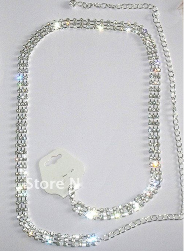 Ladies Waist Chain Alloy with Rhinestone 3 rows crystal Belly Chains Silve Plated bridal Belt Jewelry(China (Mainland))