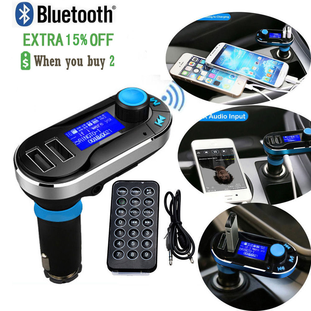 Bluetooth Car Kit Audio MP3 Player Handsfree FM Transmitter SD LCD Dual USB Charger For iPhone for Samsung for LG Smartphone(China (Mainland))