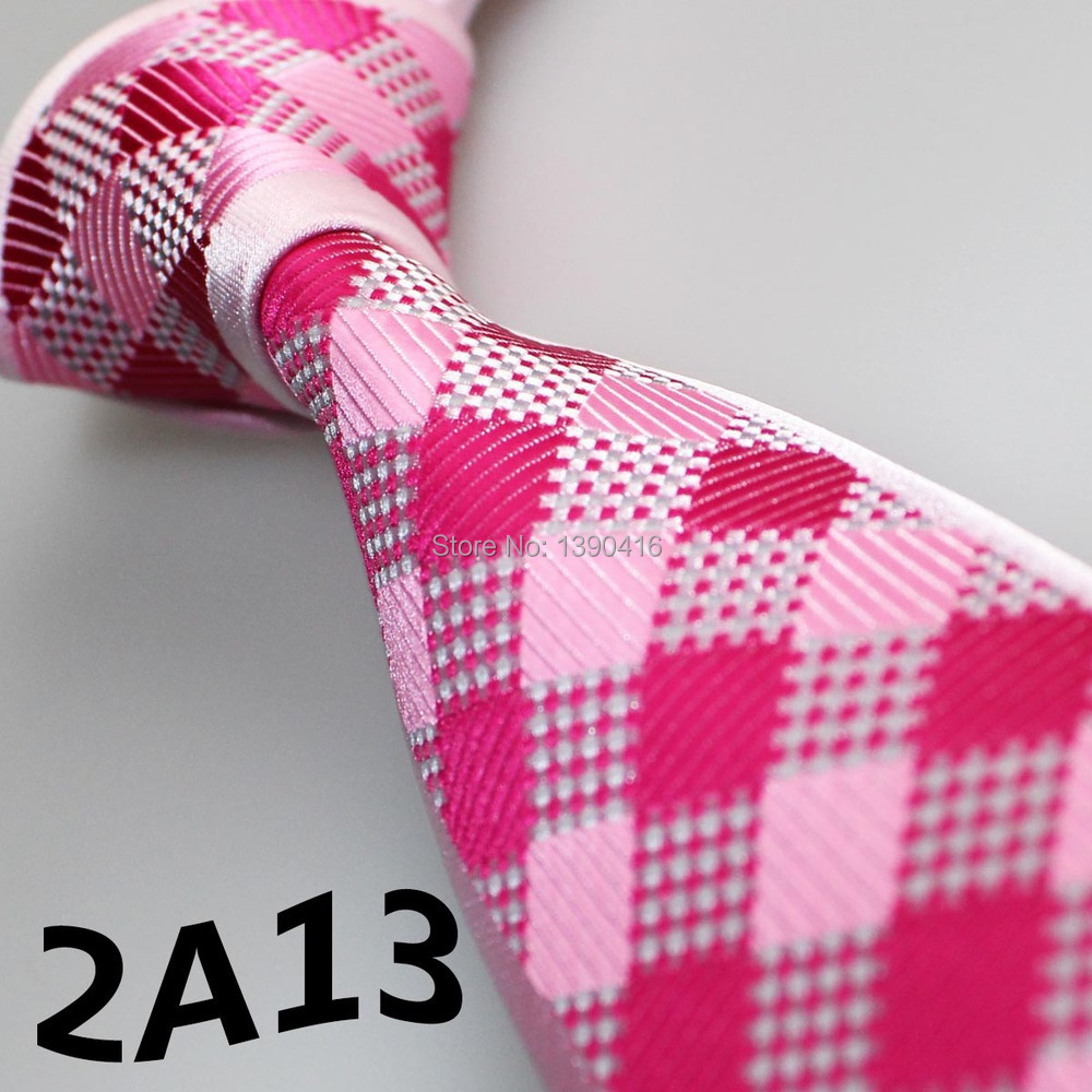 2015 Latest Style Designer Ties Hot Pink/Light Pink/White Plaid Design/Wedding Party/Gifts For Men/Prom Dresses/Neckties For Men(China (Mainland))