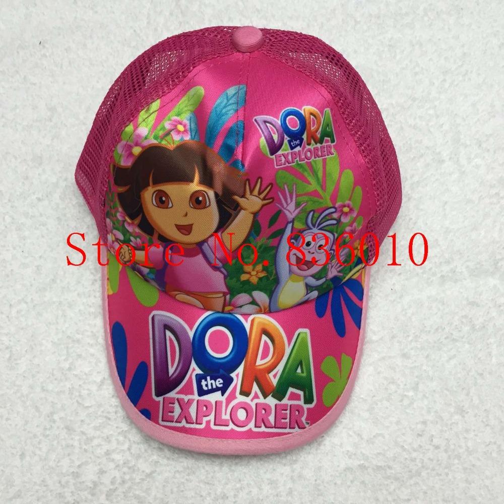 Retail 1 pcs Popular Cartoon Dora Girl Cotton Baseball Caps Adjustable Mesh Hat Children's Toys For Girls Boys Children T-107(China (Mainland))