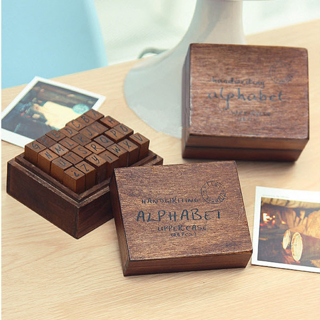 ANTIQUE Alphabet STAMP Handwriting UPPER/capital+ Wooden Box Symbols Rubber Stamp Gift For Kids 28pcs/set,flexible letters stamp(China (Mainland))