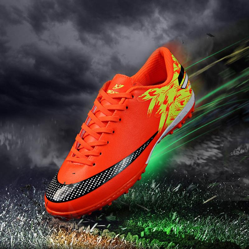2015 SUMMER NEW Size 33~45 Men Boy Kids Soccer Cleats Turf Football Soccer Shoes TF Hard Court Sneakers Trainer botas de futbol(China (Mainland))