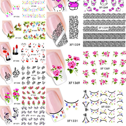 100sheets Trendy Mixed Design Nail Water Transfer Stickers Decals Watermark Decorations DIY Foil Polish Wraps #XF1299-XF1371(China (Mainland))
