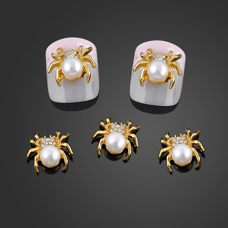 New Glitter Gold Spider 3d Nail Charms Jewelry DIY Pearl Alloy Nail Art Decorations Nails Tools Stickers Free Shipping<br><br>Aliexpress
