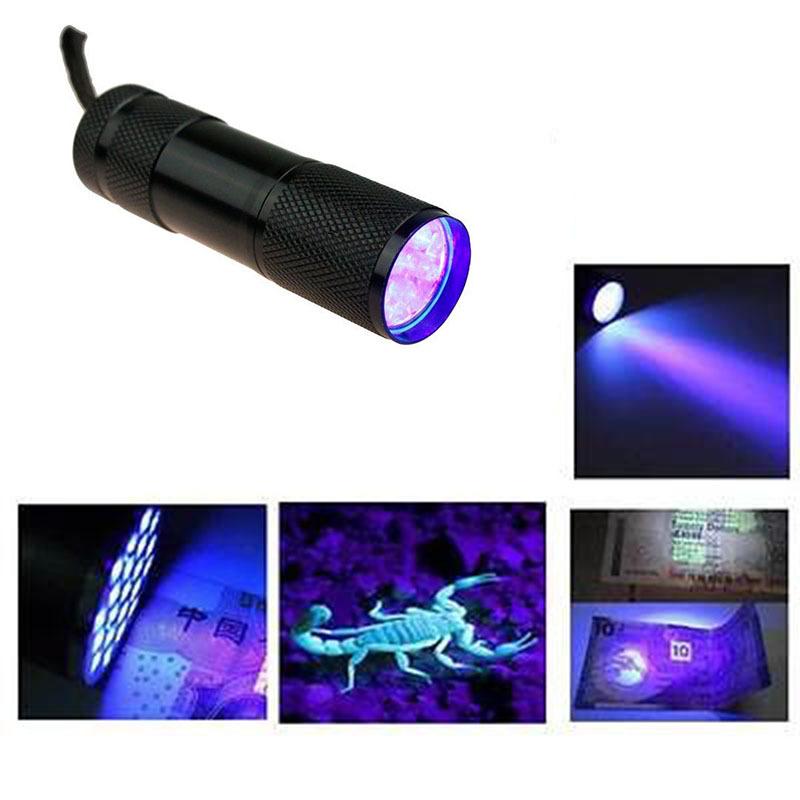Portable LED Flash Flashlight Penlight 9 LEDs UV Purple Lights Lamp Linternas 450lm Lanterna Torch Lighting For Money Checking(China (Mainland))