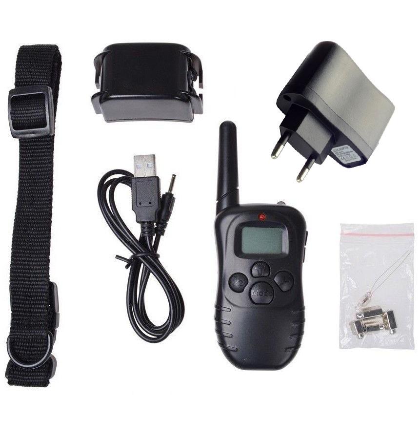 300M 100 Level EU Plug Shock Vibra Remote Rechargeable LCD Pet Dog Training Collar Stop Barking Control CollarVE871 T15 0.5(China (Mainland))