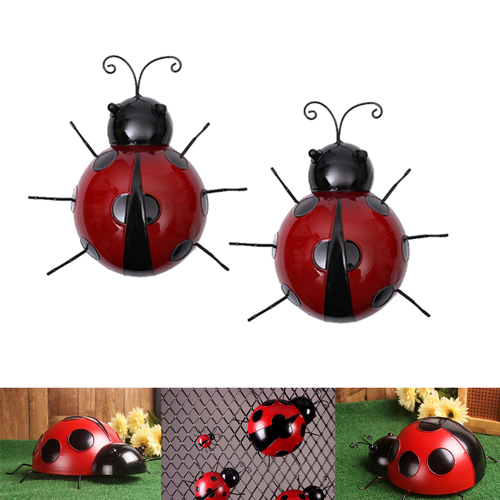 2pcs Metal Ladybug Fence Hanger Wall Hanging Outdoor Garden Decorative Figurine Wall Art, Red, 10cm 16cm