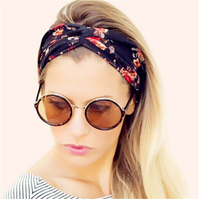 New Bohemian Women Turban Headband Multicolored Flowers Crossed Elastic Headbands for Women HA161(China (Mainland))