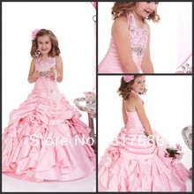 Free shipping! halter beaded flowers pleat ruffles a-line tiered satin long girl flower girl dress