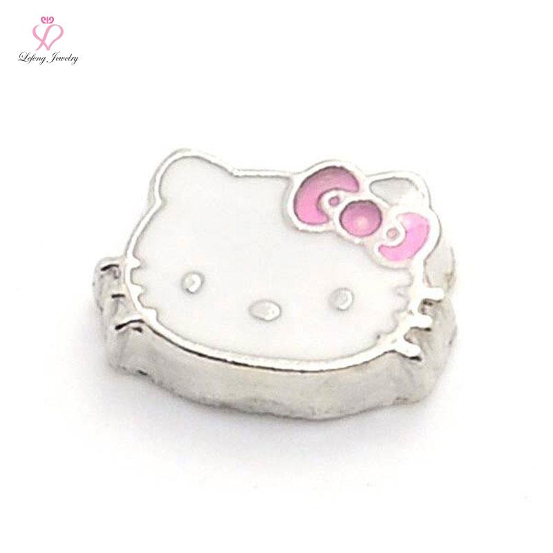 New cute zinc alloy white enamel hello kitty origami owl floating charms for living photo memory glass lockets FC52(China (Mainland))
