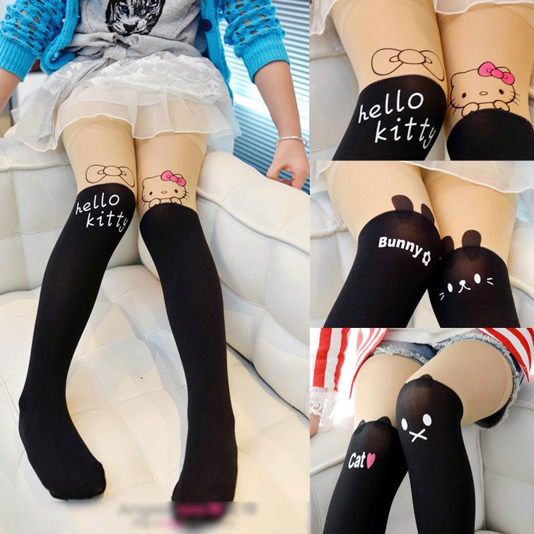 Baby Girl's Stockings Fashion Tight Solid Cute Cartoon Designs Children Girls Kids Stockings 4 Designs(China (Mainland))
