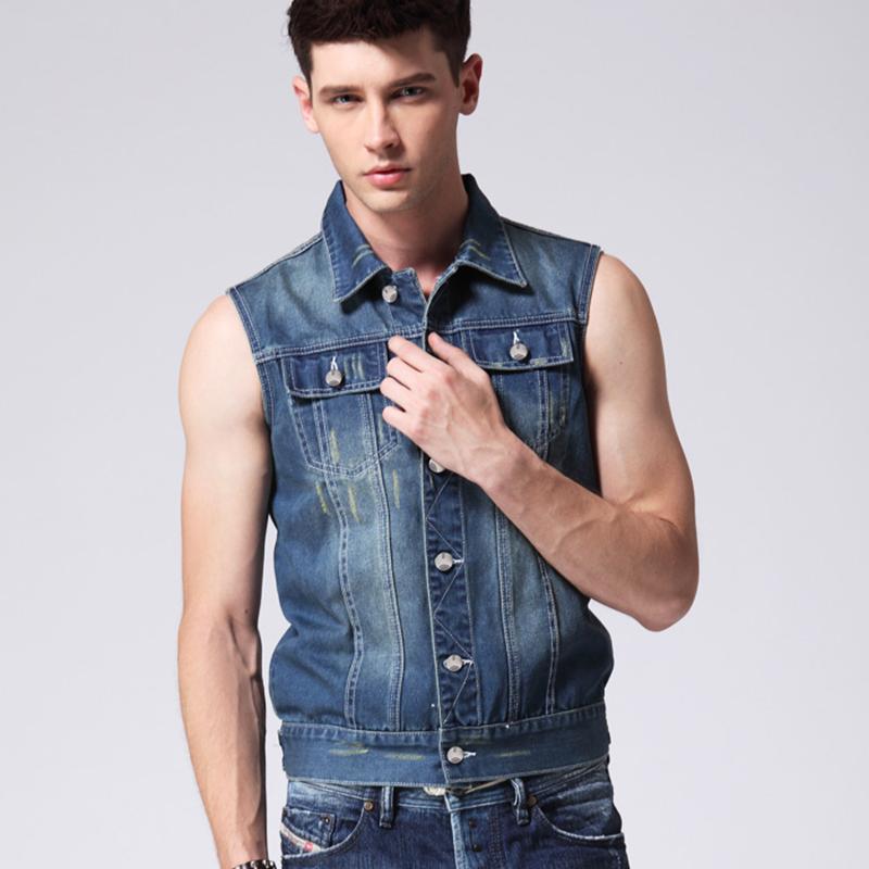 The spring new trend men's denim vest high quality sleeveless jackets men famous brand cotton jeans vest men(China (Mainland))