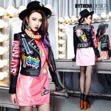 Melinda Style 2015 Autumn New Women's Leather Jacket Fashion Letter Print Pattern Leather Coats Graffiti Crazy Style 1396(China (Mainland))