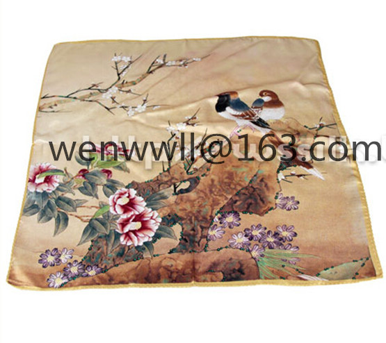 Gorgeous designer 100% pure natural mulberry silk small square scarf 52cm x 52cm W211(China (Mainland))