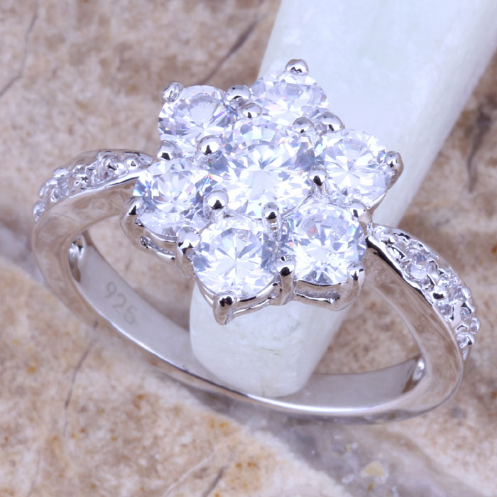 Impressive White Topaz Silver Stamped 925 Women's Flower Jewelry Ring Size 6 / 7 8 9 Free Gift Bag R0544 - jewelry1688 store