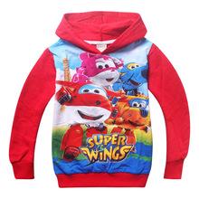 2 colours Superwings kids long sleeve hooded jacket boys spring hoodies sweatshirts 4pcs/lot 799()
