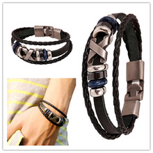 Best seller free ship Diomedes mens New Leather Bracelet  Jewelry Korea Fashion Jewelry Punk Bracelet Stainless Steel Fittings(China (Mainland))