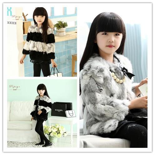 2015 Children Outerwear Girls Jacket Kids Rabbit Fur Coat Girl Coat Child Clothes ET-101(China (Mainland))