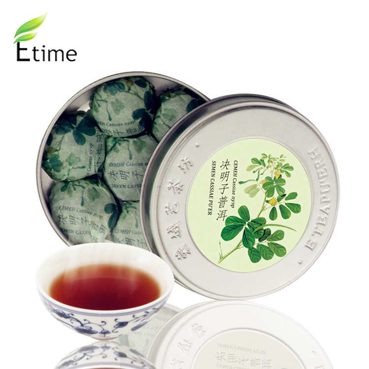 tea Chinese Traditional Popular Round Box Mini Compressed puer Special Taste 7 pieces box Semen Cassiae