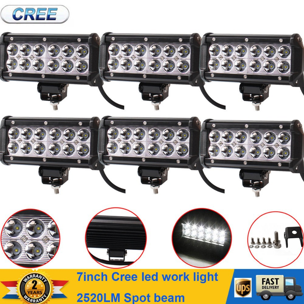 """6x 7"""" 6000K WHITE 36W 2520LM 12 LED OFFROAD SPOT LIGHT BAR FOR JEEP/ATV/SUV/4WD/ROOF(China (Mainland))"""