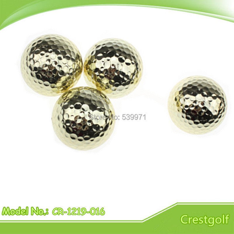 Free shipping hot selling 6pcs/lot luxury gold color two layer gift golf ball two piece golden practice golf balls(China (Mainland))