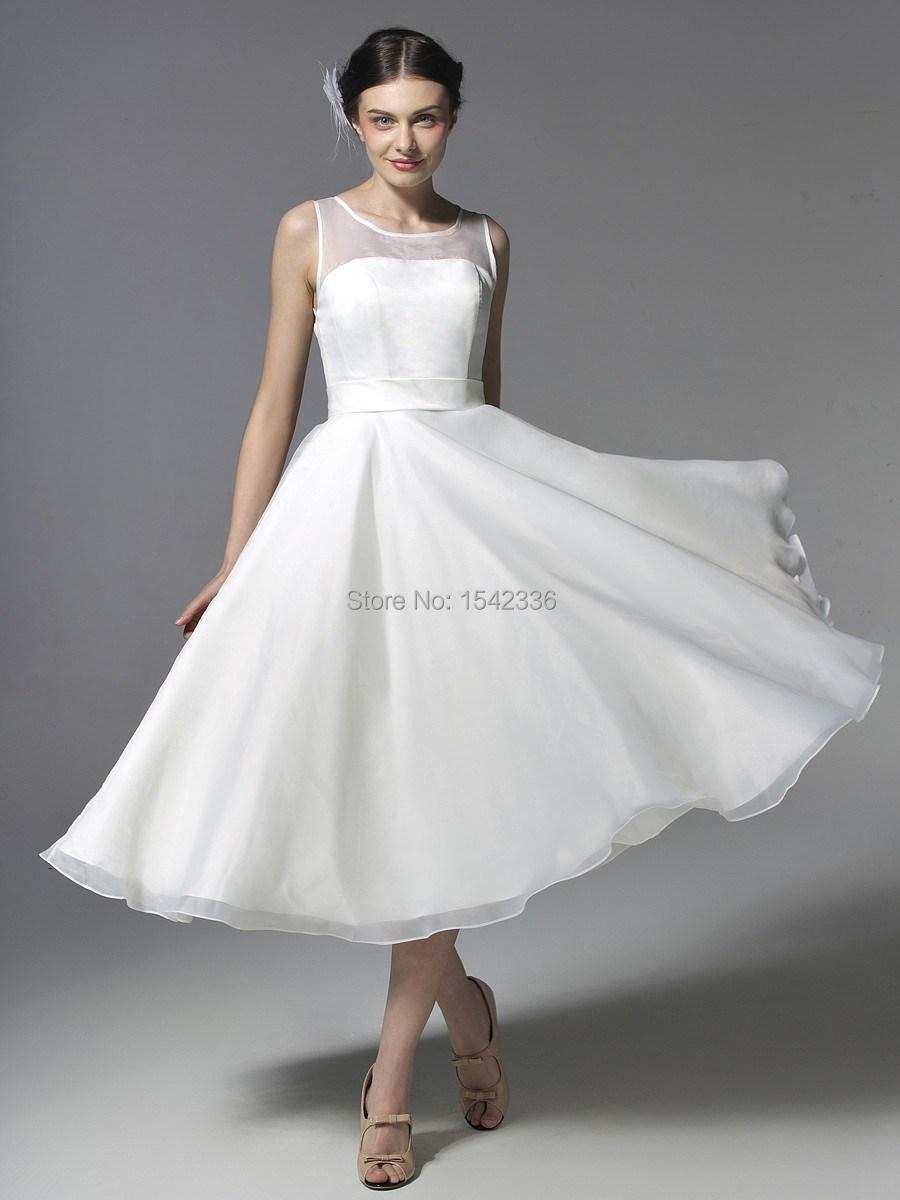 Short wedding dress vestido de noiva sheer neck wedding for A line tea length wedding dress