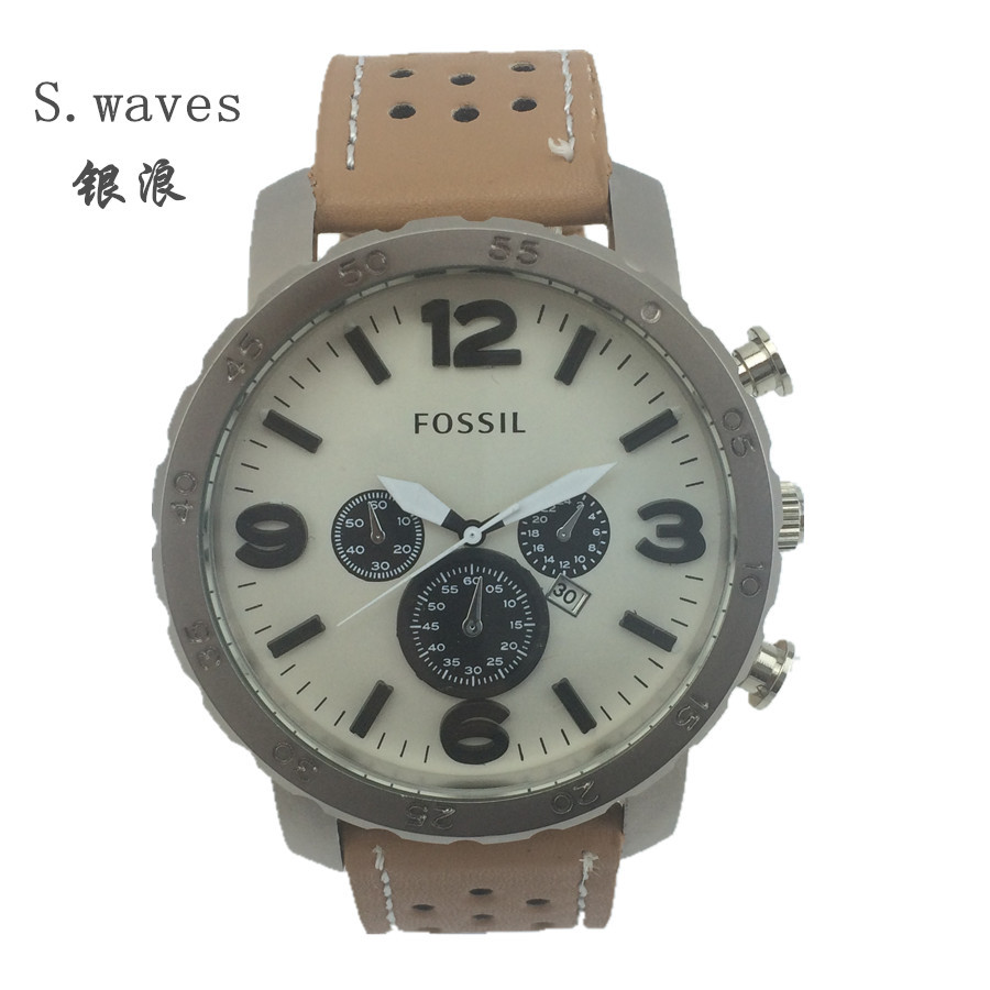 New s.waves Wristwatch Quartz Watch Date DZ Men Leather fossiler Casual Fashion Army table Stainless Masculino Relogio Reloj(China (Mainland))