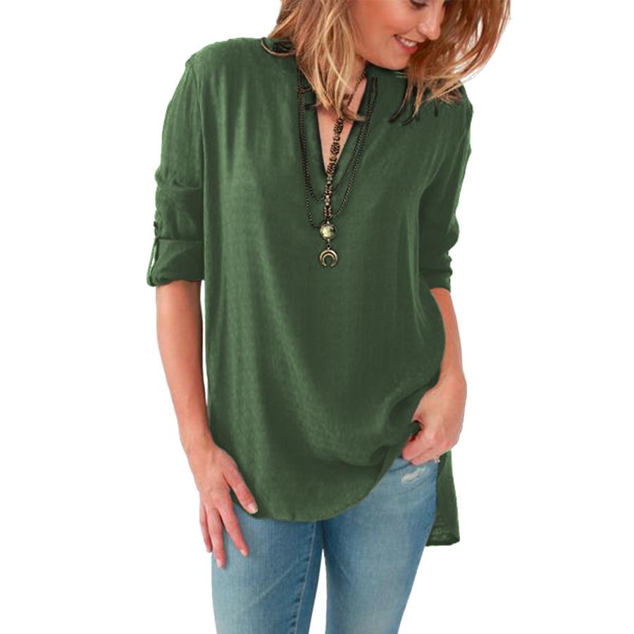 2016 Женщины Блузки Рубашки С Длинным рукавом Твердые V-образным Вырезом Хлопок Старинные Рубашки Диких Случайные Уличной Свободные Топы Женщины Плюс Размер Блузка