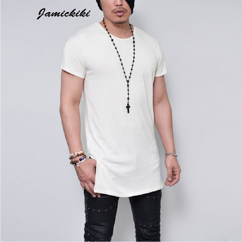 2016 summer men 39 s short sleeve long style solid black for White t shirt outfit mens