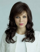 Hot Sale Synthetic Celebrity Brown Black Hair Long Wavy Afro American Wigs For Women SW0044(China (Mainland))