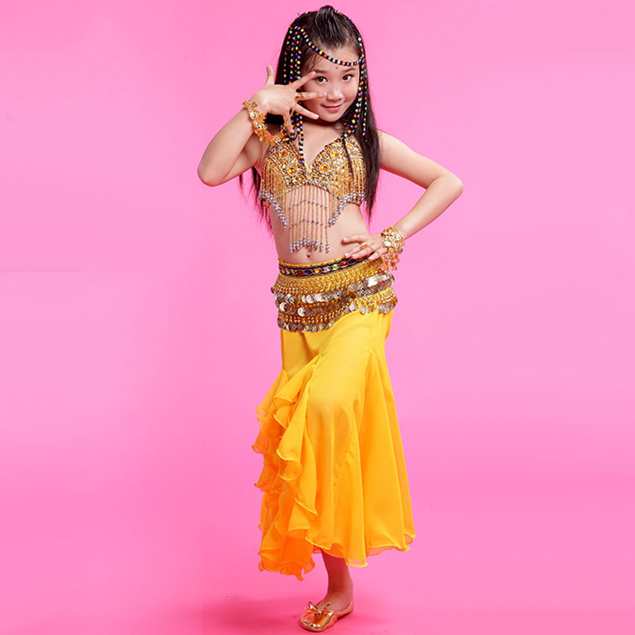 2016 New Paillette Costume 3 Piece(Bra+Dress+Waist Chain) Dance Belly Dance Red/Rose/Yellow Dance Hip Scarf Fringe Free Ship(China (Mainland))