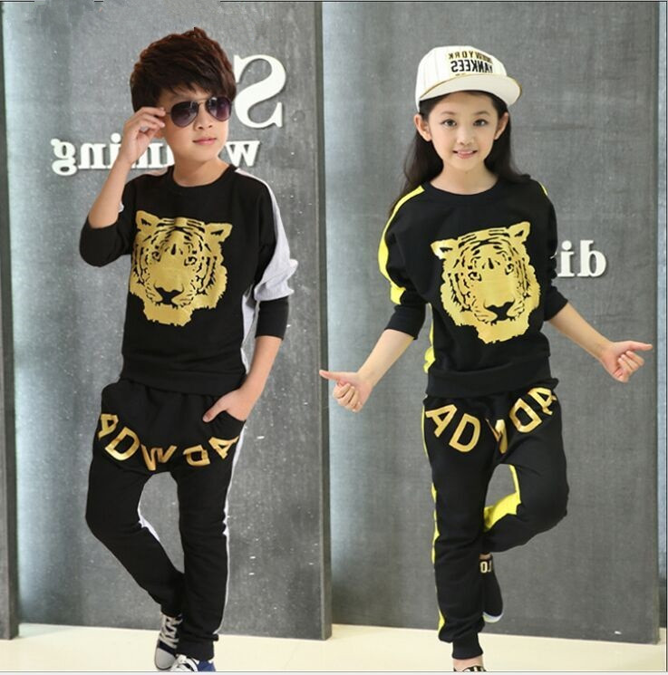 2016 spring Kids Costume Children's clothing sets Comic tiger Kids boy/girl outerwear+pants boys outerwear suit(China (Mainland))
