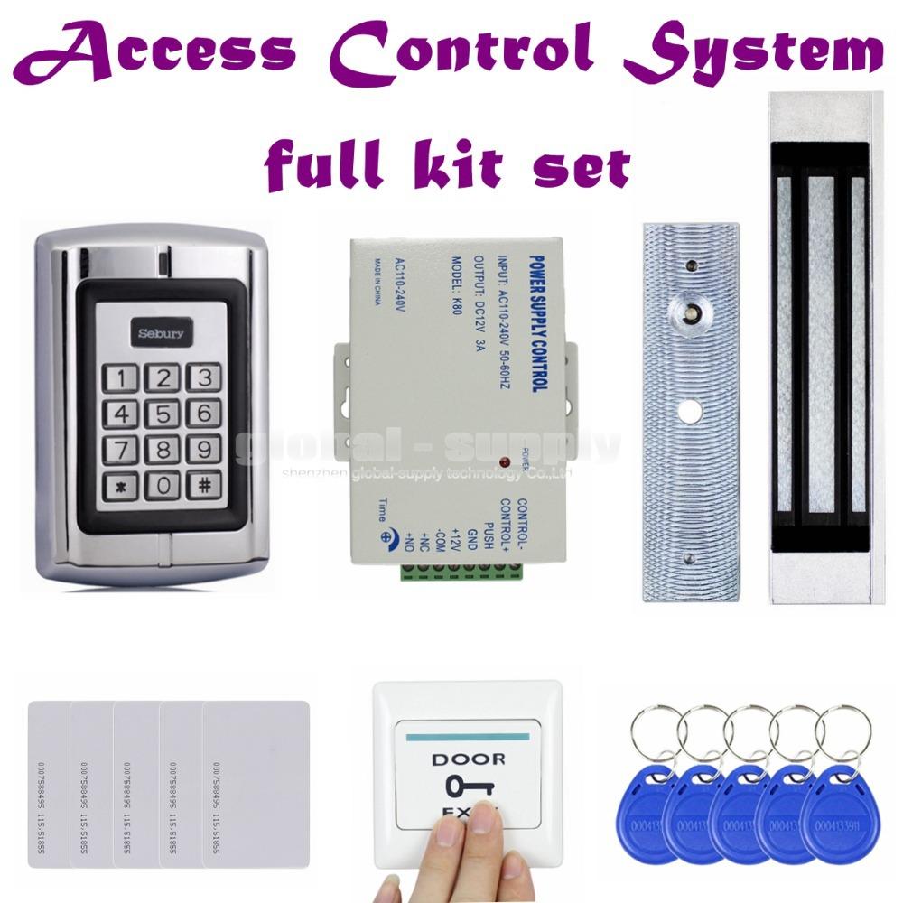 DIY 180KG Magnetic Lock 125KHz RFID EM ID Card Reader Passwork Metal Keypad Door Access Control System Kit BC2000(China (Mainland))