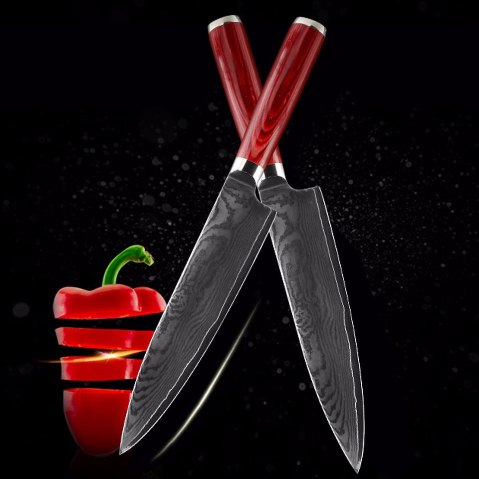 Buy Brand Mr.W 8 inch Damascus Chef Knife With Wooden Handle Japanese AUS-11 Damascus Stainless Steel  Kitchen Knives cheap