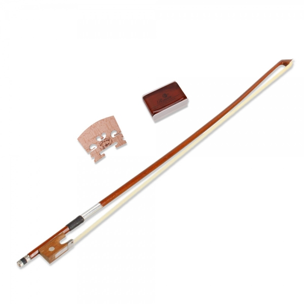 Pure Hand Made Arbor Hold 1/4 Violin Bow Brown Horse Hair Carbon Fiber + Rosin + Bridge Music Parts Instruments(China (Mainland))