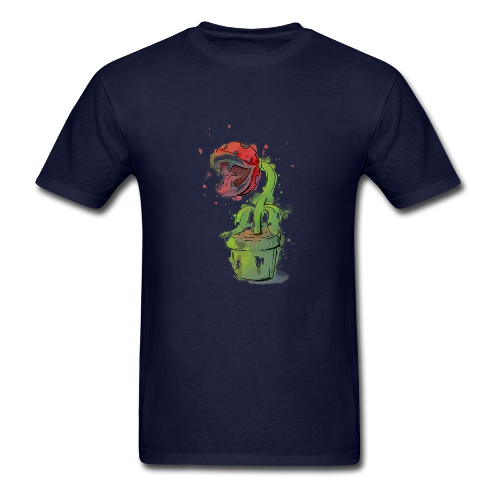New Arrival Short Sleeved Piranha Plant Watercolor T Shirt Men Soft Cotton Tee Shirt Merchandise(China (Mainland))