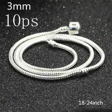 Buy 10ps Genuine Solid 925 Sterling Silver Classic Round Snake Chain Necklace.Men's gift.snake bone chain coarse 3mm 18inch-24inch for $10.50 in AliExpress store
