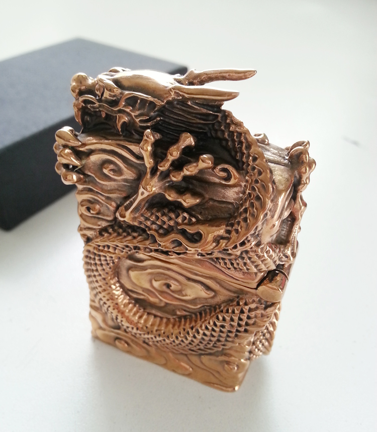 Ogrm Metal Crafts Bronze Casting Chinese Dragon Lighters Cigarette Oil Lighter Men's Gift Fast Shipping(China (Mainland))
