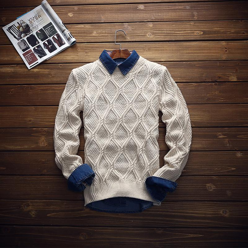 2015 Slim Fitness Turtleneck Knited Winter/Autumn Casual Men's Sweater Wool Men Winter Sweater(China (Mainland))
