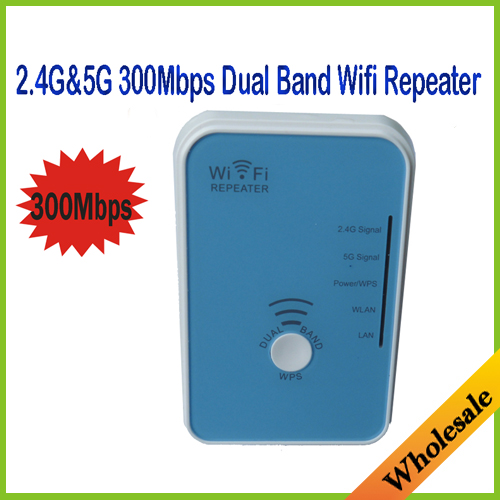 Mini Portable 2.4G&5G Dual Band Wireless 300M Wifi Repeater Wlan 300Mbps Wifi Router Signal Boosters,Free Shipping Dropshipping(China (Mainland))