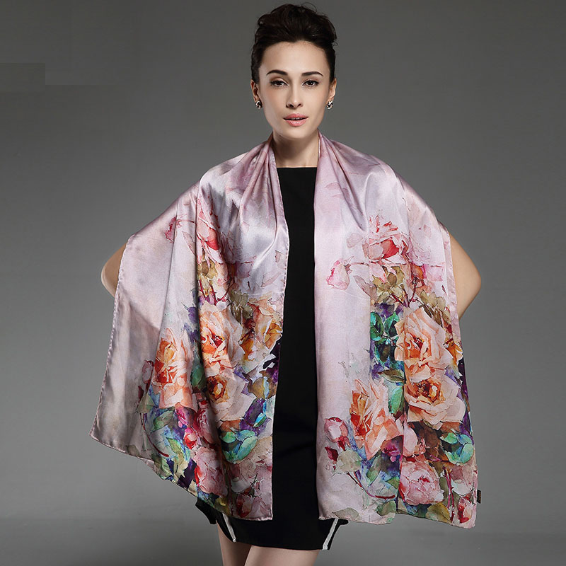 2016 winter high quality 100% real silk Scarf Shawl wrap hijab women female fashion Scarves chinese rose pattern 175*52cm(China (Mainland))