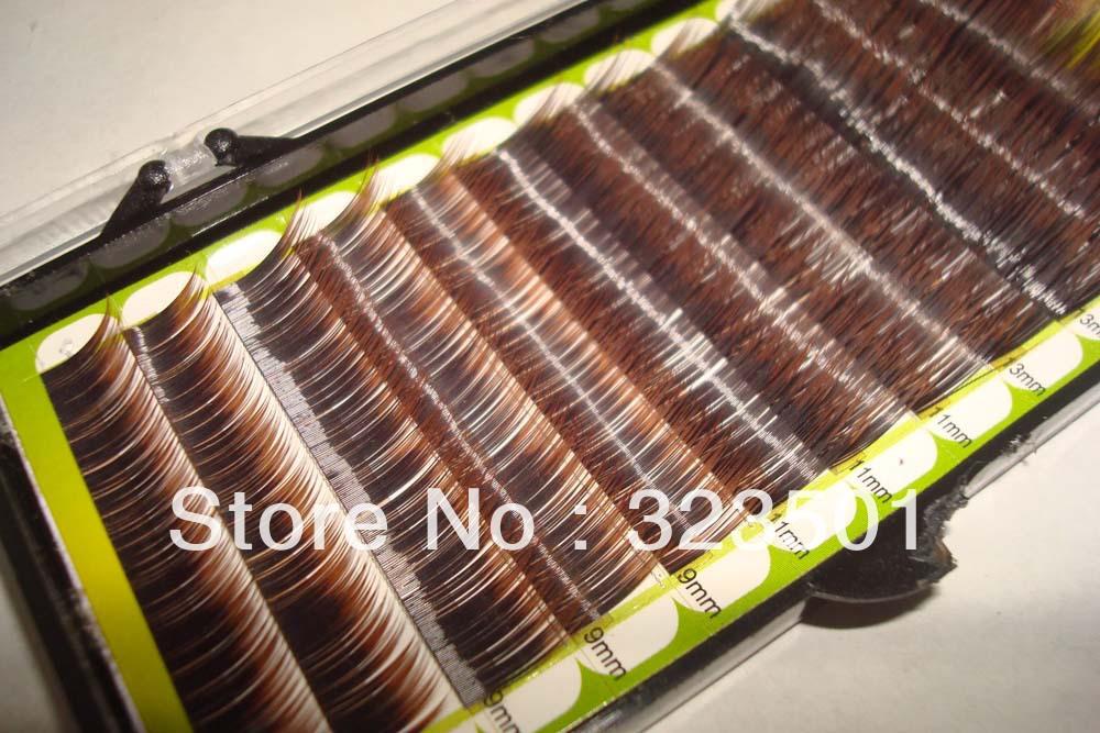 Free shipping 1pcs Mix Size Two-tone Brown Mink eyelash Colorful Mink Eyelash False Eyelash(China (Mainland))