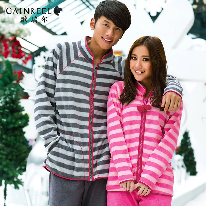 Song Riel autumn and winter fashion fleece lovers male striped pajamas comfortable tracksuit suit Ms Rose