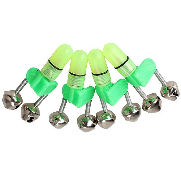 4PCS LED Fishing Rod Bite Alarm Red Light Twin Bells Clip Alerter E1Xc