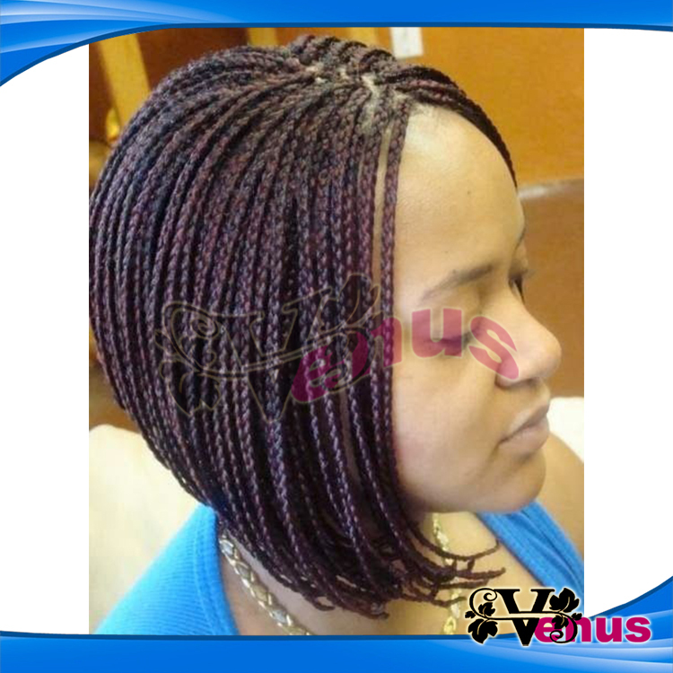 Bob Wigs Black Glueless Braided Synthetic Micro Braid Wigs African ...