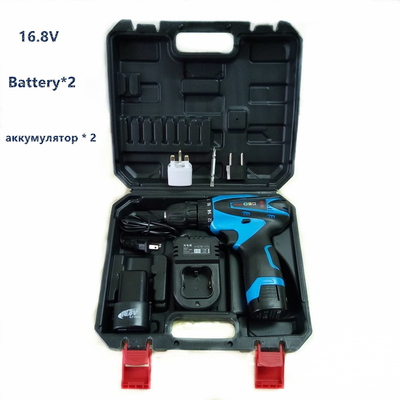 16.8v two speed Lithium Battery*2 hand Cordless Electric Drill wall wood Electric Screwdriver Power Tool with plastic case box(China (Mainland))